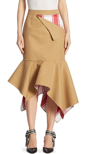 MONSE plaid trumpet skirt in khaki red - Peek-a-boo plaid trumpet cotton-blend skirt with zip...