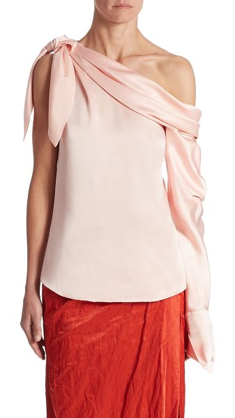 Monse silk one sleeve blouse in blush