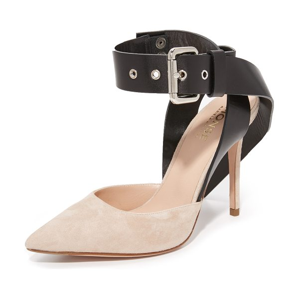 MONSE suede heels - A wraparound buckle strap adds edgy style to these...