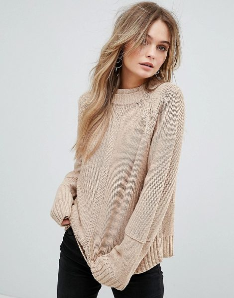"""Moon River Back Slit Detail Sweater in brown - """"""""Sweater by Moon River, Soft-touch knit, High neck,..."""