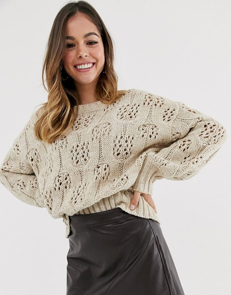 Moon River beige fine knitted sweater in beige