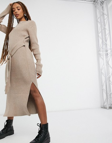 Moon River belted midi dress in taupe-brown in brown