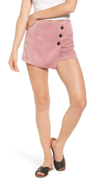 Moon River button front satin skort in mauve