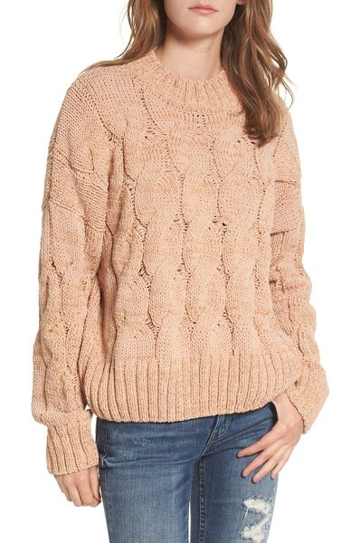 Moon River cable knit sweater in salmon - A chunky cable-knit pattern imbues this cozy turtleneck...