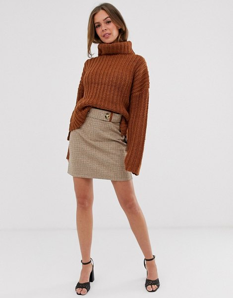 Moon River check skirt-brown in brown