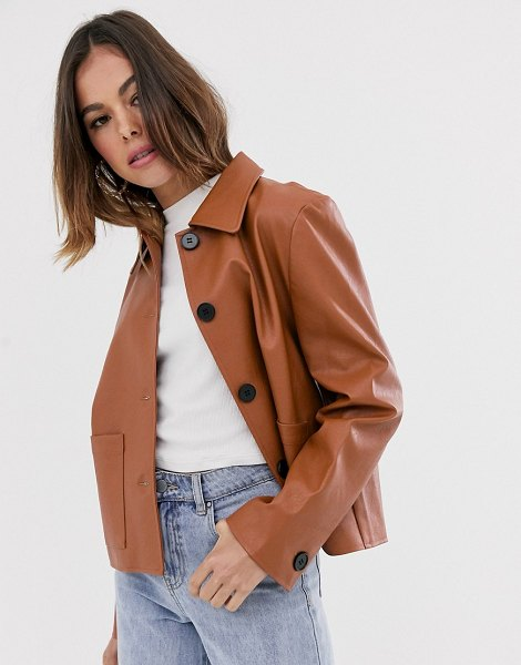 Moon River faux leather cropped jacket-brown in brown