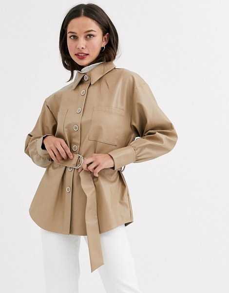 Moon River faux leather shirt with belt-beige in beige