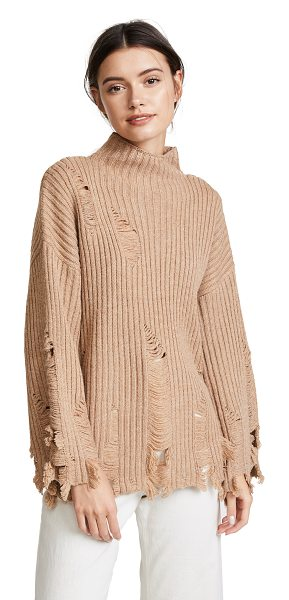 Moon River fray sweater in brown - This ribbed knit Moon River turtleneck sweater is...