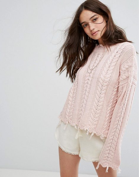 "Moon River Fray Twist Sweater in pink - """"Sweater by Moon River, Wool-mix cable knit, Soft-touch..."