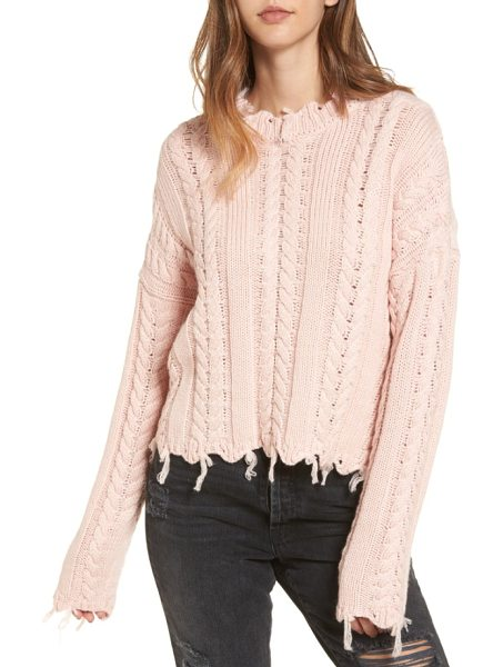 MOON RIVER frayed hem cable knit sweater in pink - Unfinished edges add unstudied cool to a pale pink...