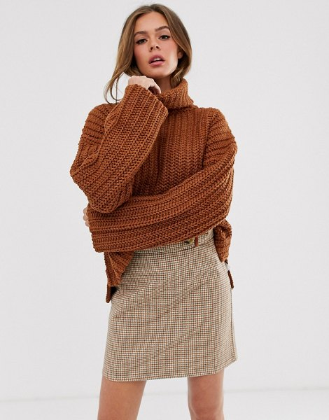 Moon River high neck slouchy sweater-brown in brown
