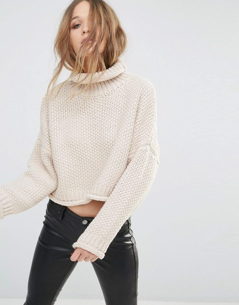 Moon River Knitted Crop Sweater in beige - Sweater by Moon River, Chunky knit, Roll neckline,...