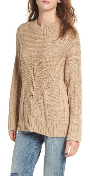 Moon River oversize drop shoulder sweater in taupe - Intricate stitching in every direction imparts a rustic,...
