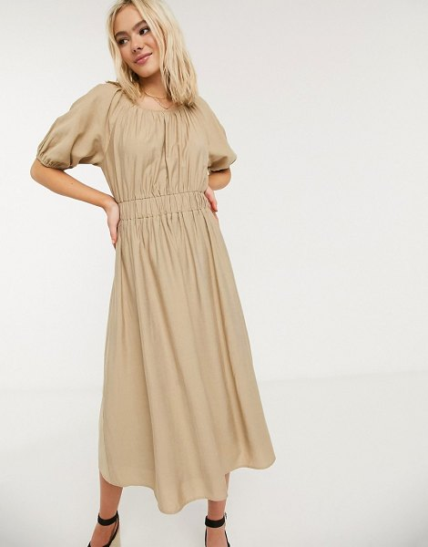 Moon River poplin midi dress-beige in beige