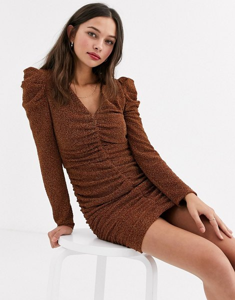 Moon River ruched sparkle mini dress-brown in brown