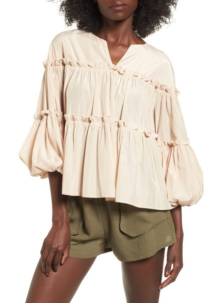 Moon River ruffled balloon sleeve babydoll top in natural - Perfectly suited for warm days spent lounging in the...