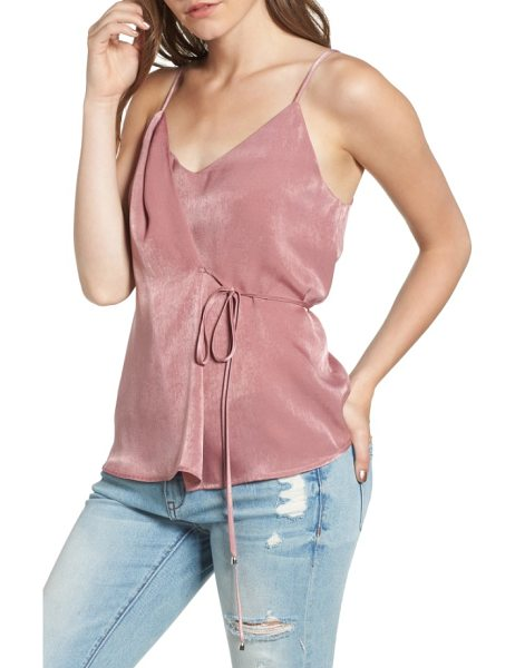 Moon River satin wrap camisole in mauve - A slender tie secures the side of a sweet satin camisole...