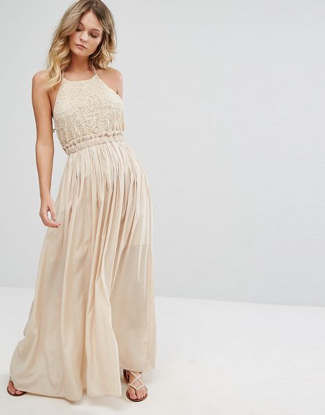 "Moon River Sleeveless Maxi Dress in cream - """"Dress by Moon River, Embroidered woven fabric,..."