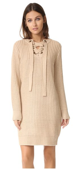 Moon River sweater dress in tan - Chunky knit lends a cozy feel to this simple Moon River...