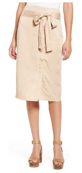 Moon River tie waist pencil skirt in taupe - A jaunty sash ties at the waist of this khaki pencil...