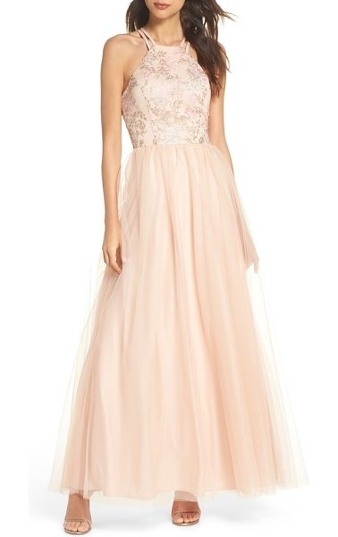 Morgan & Co. embroidered bodice fit & flare gown in blush / nude / pink - Shimmering metallic threads illuminate the sprawling...