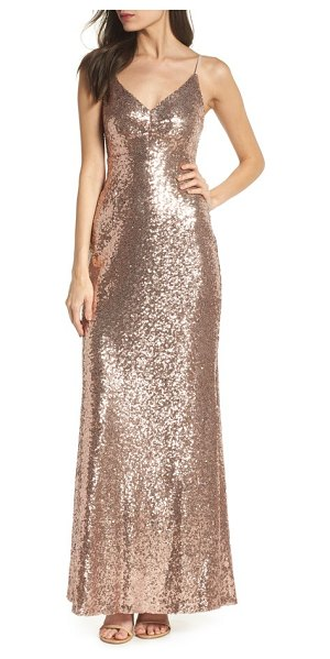 Morgan & Co. keyhole back sequin gown in rose/ gold - A figure-skimming gown backed by a bold keyhole cutout...