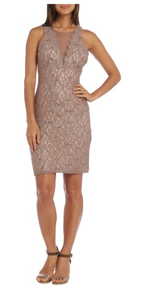 Morgan & Co. lace illusion sheath dress in taupe/ ivory - Scalloped trim along the neck and an inset of sheer mesh...