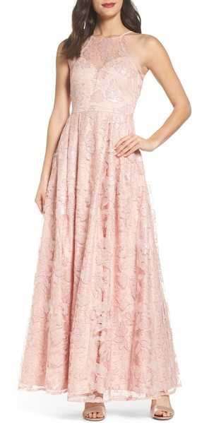 MORGAN & CO. lace-up back embroidered gown - Tonal embroidered flowers detail an ankle-grazing gown in a...