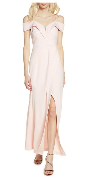 Morgan & Co. portrait collar gown in pink