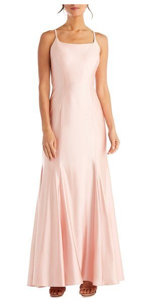 Morgan & Co. power satin trumpet gown in pink