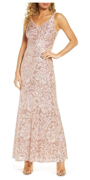 Morgan & Co. sequin gown in beige
