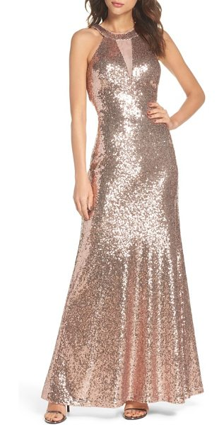 MORGAN & CO. sequin halter gown in rose gold - Sparkle like a disco ball in this backless gown...