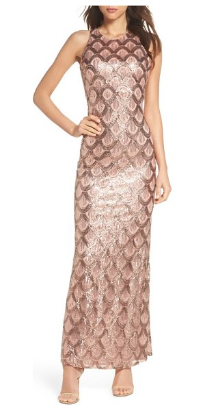 MORGAN & CO. strappy back sequin gown - Art Deco patterning traced in glimmering sequins scales...