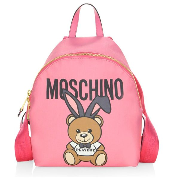 Moschino bear backpack in pink - On-trend backpack with signature graphic design. Top...