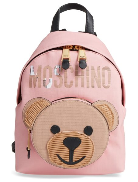 Moschino cardboard bear leather backpack in pink/ black - Moschino's mascot and logo get reimagined in cardboard...