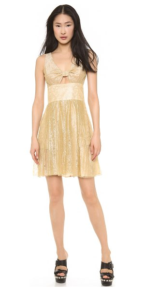 Moschino Cheap and chic lace dress in gold - Delicate metallic lace shimmers across this charming...
