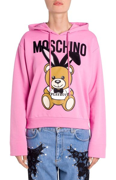 Moschino cotton playboy bear hoodie in pink - Cotton hoodie with playful bear graphic features velvet...