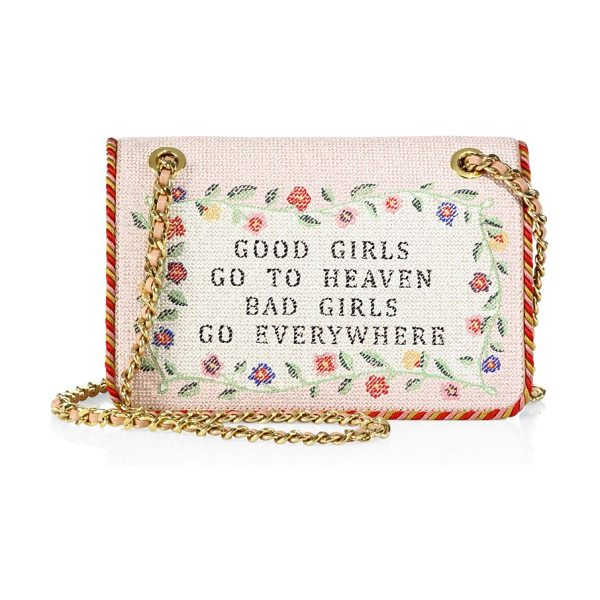Moschino embroidered chain shoulder bag in pink-multi - Wide embroidered style with needlepoint-print text....