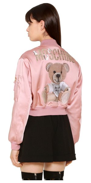 MOSCHINO Envers satin bomber jacket w/ bear patch in pink - Ribbed collar, cuffs and hem . Front zip closure . Bear...