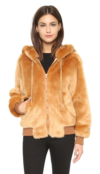 Moschino Faux fur jacket in brown - This super soft, faux fur Moschino jacket has an...
