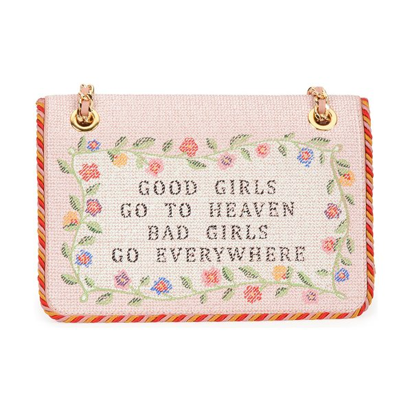 Moschino Good girls go to heaven shoulder bag in nude - Moschino sheepskin shoulder bag with braided rope trim....