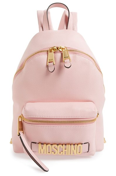 Moschino logo leather backpack in pink