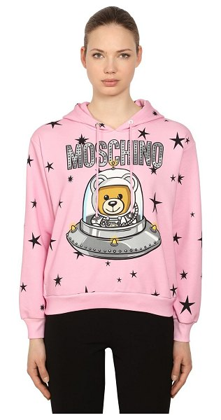 Moschino Logo printed cotton sweatshirt hoodie in pink - Non-detachable hood with drawstring. Ribbed cuffs and...