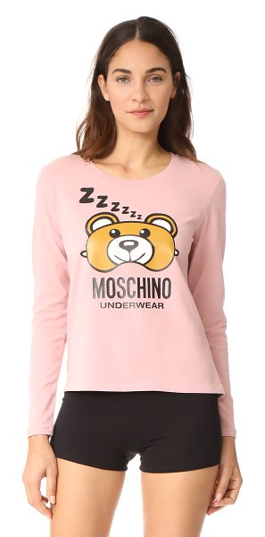 Moschino long sleeve t-shirt in pink - A bear-shaped eyemask and 'Mochino Underwear' lettering...