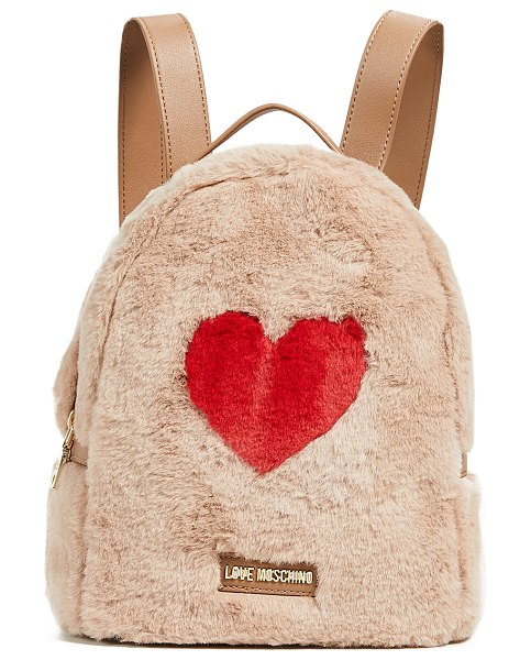 Moschino love  backpack in beige - Fabric: Faux fur Gold-tone hardware 'Love Moschino'...
