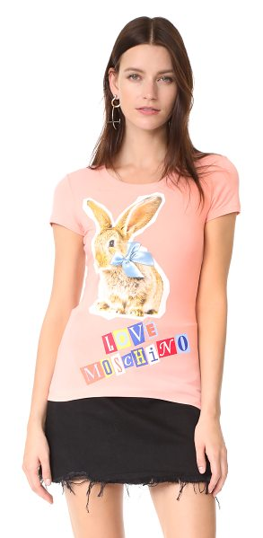 Moschino love  rabbit tee in peach - This formfitting Love Moschino tee is detailed with a...