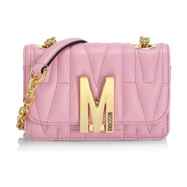 Moschino m logo quilted leather shoulder bag in pink