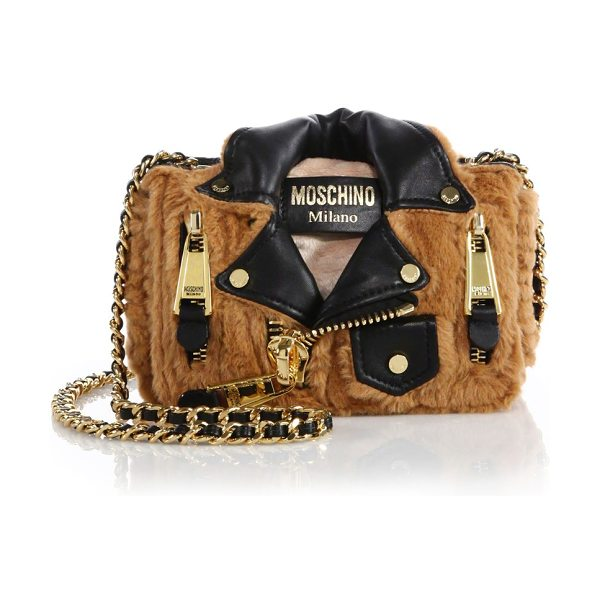 MOSCHINO Moto jacket small faux fur crossbody bag in tan-black - The biker-chic appeal of a moto jacket in the form of a...