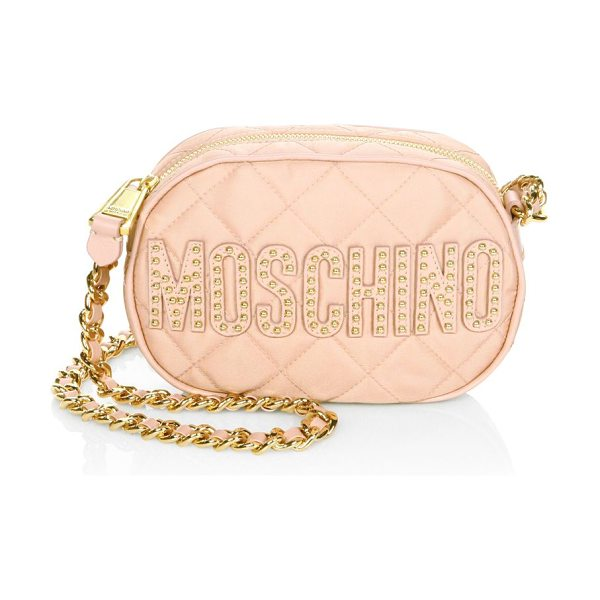 MOSCHINO quilted leather crossbody bag - Leather crossbody bag with gold hardware accents....