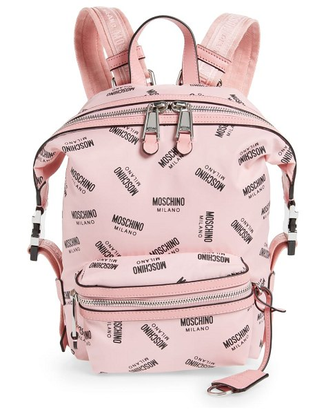 Moschino small logo backpack in pink